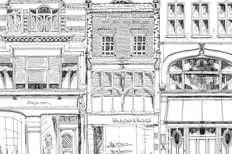 Старые английские таунхаусы с малыми магазинами или дело на первом этаже Скрепленная улица, Лондон эскиз иллюстрация вектора
