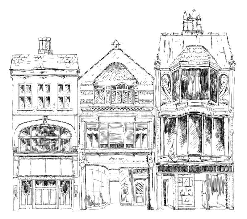 Старые английские таунхаусы с малыми магазинами или дело на первом этаже Скрепленная улица, Лондон Собрание эскиза иллюстрация вектора