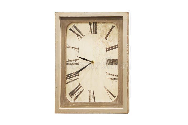 Старые античные настенные часы изолированные на белизне стоковое фото