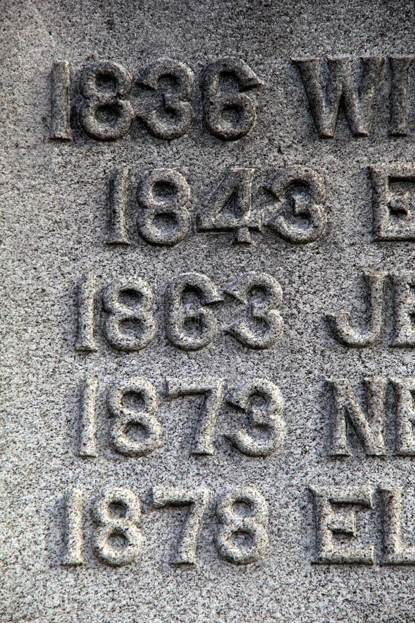 Старые даты жизни персоны высекли в могильный камень стоковые изображения