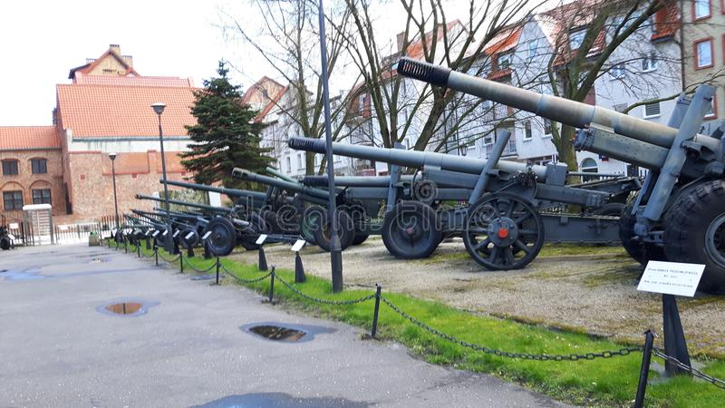 Старые башенки артиллерии и анти--воздуха/карамболи стоковые изображения
