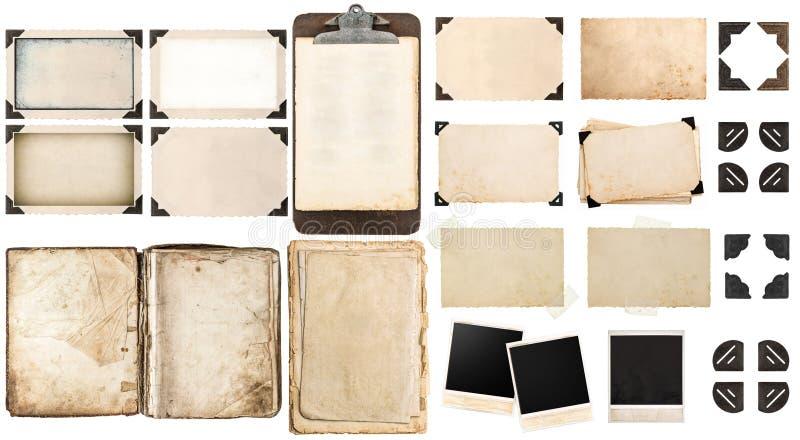 Старые бумажные листы, винтажные рамки фото и углы, открытая книга стоковые изображения rf