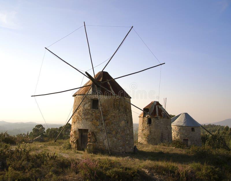 старые ветрянки Португалии penacova стоковые фотографии rf