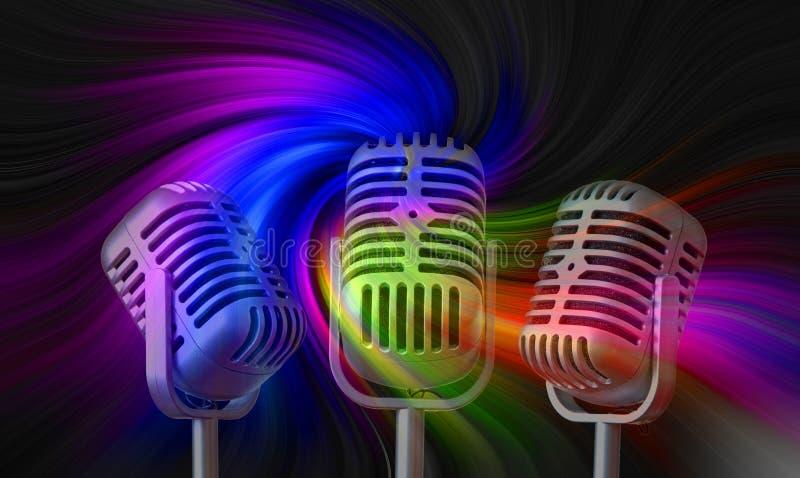 Старые винтажные микрофоны mics записывая ядровый этап студии петь музыки стоковые фото