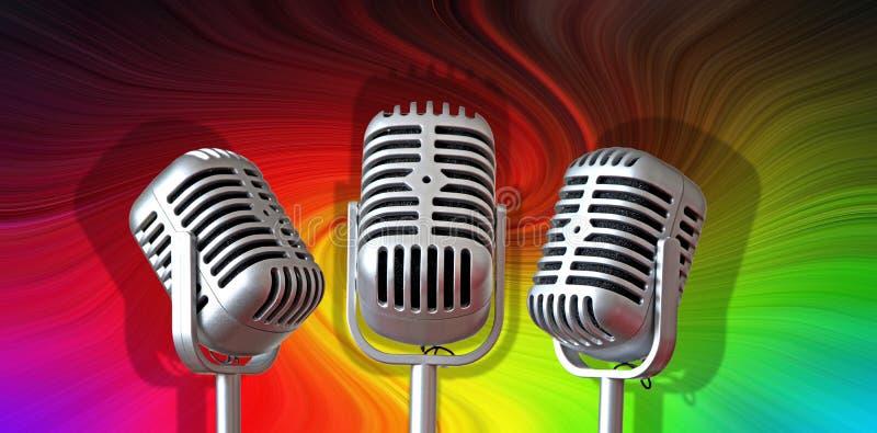 Старые винтажные микрофоны mics записывая ядровый этап студии петь музыки стоковая фотография rf