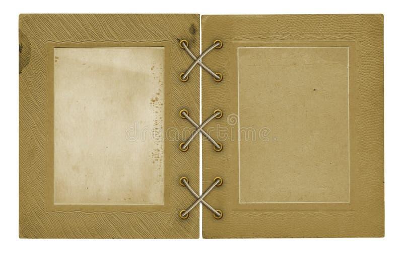 Старые винтажные открытки фото и крышка альбома на изолированной предпосылке стоковые фото