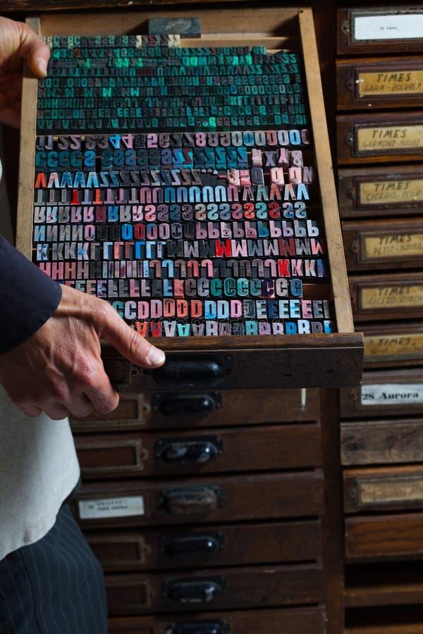 Старые винтажные письма печатного станка стоковые фотографии rf