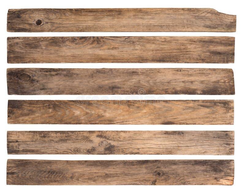 Старые деревянные планки изолированные на белой предпосылке стоковое фото rf