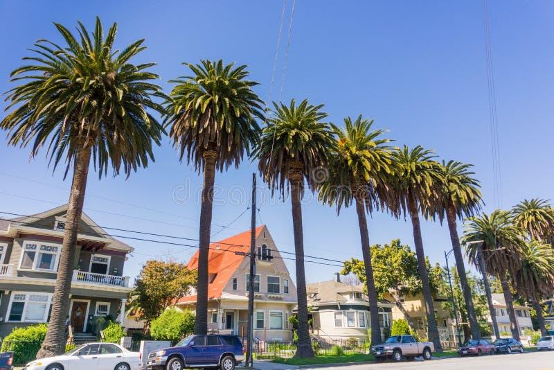 Старые дома и пальмы на улице в городском Сан-Хосе, Калифорнии стоковые фотографии rf