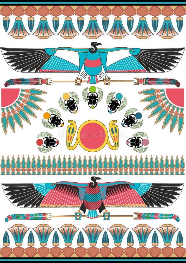 Старые египетские настенные росписи, скульптуры и картины Предпосылка древнего египета иллюстрация штока