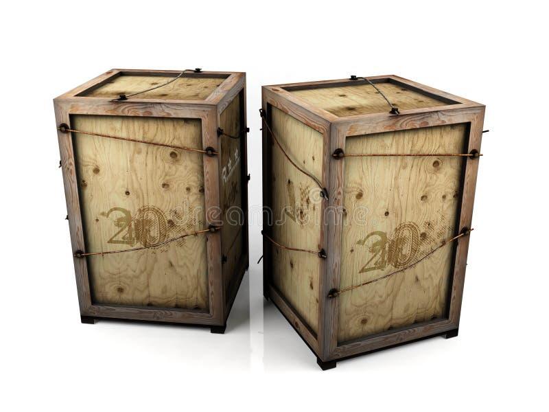 Старые деревянные клети на белых предпосылках стоковая фотография rf