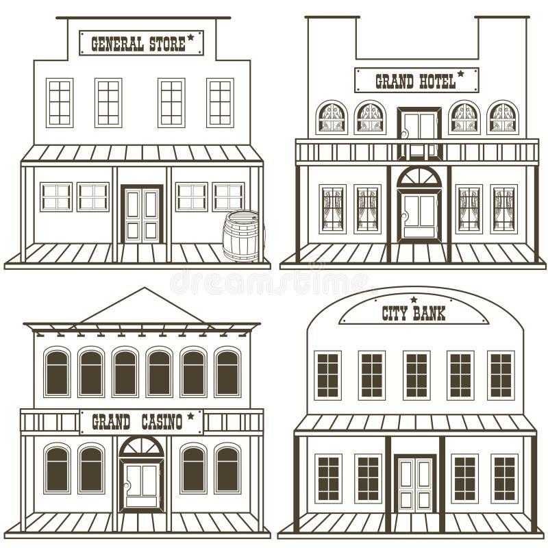 Старые западные здания конспектировали 2 иллюстрация штока