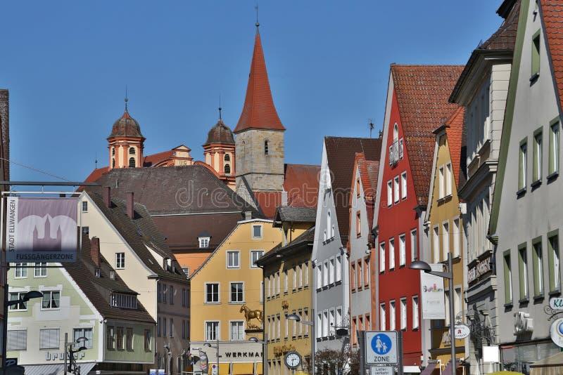 Старые здания и виски на историческом центре Ellwangen, стоковая фотография rf