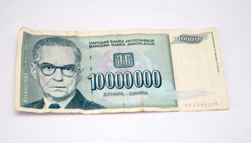 Старые динары Югославии, бумажные деньги стоковое изображение