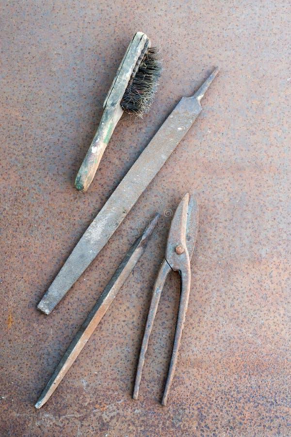 Старые инструменты стенда стоковое изображение rf