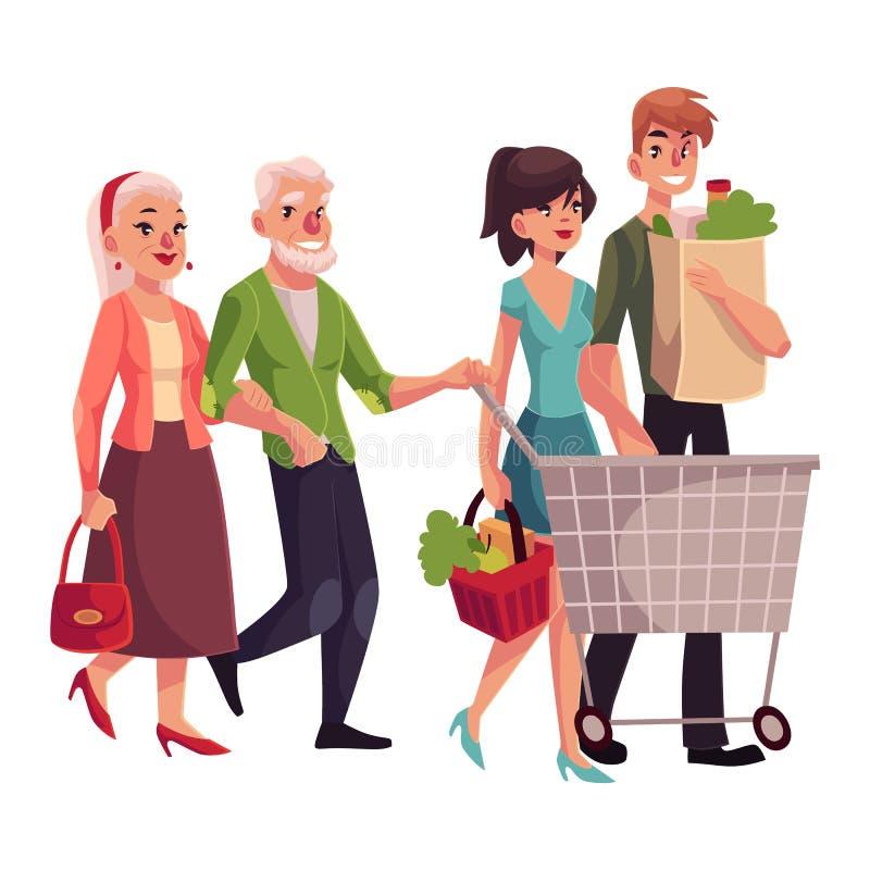 Старые и молодые пары ходя по магазинам, покупая еда в гастрономе иллюстрация вектора