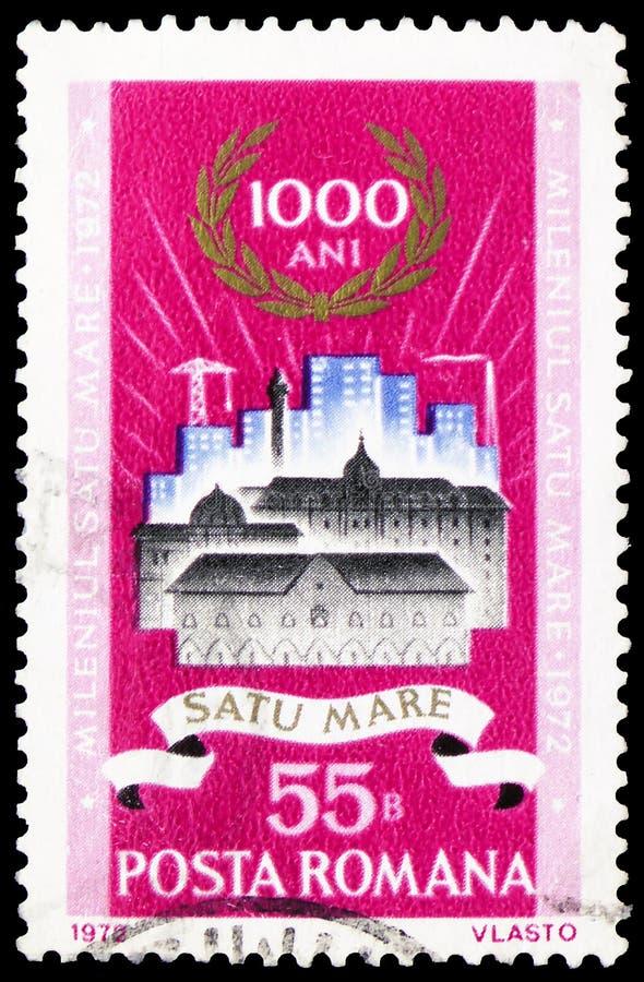 Старые и новые здания в Satu-конематке, serie тысячелетия Satu-конематки, около 1972 стоковое изображение rf