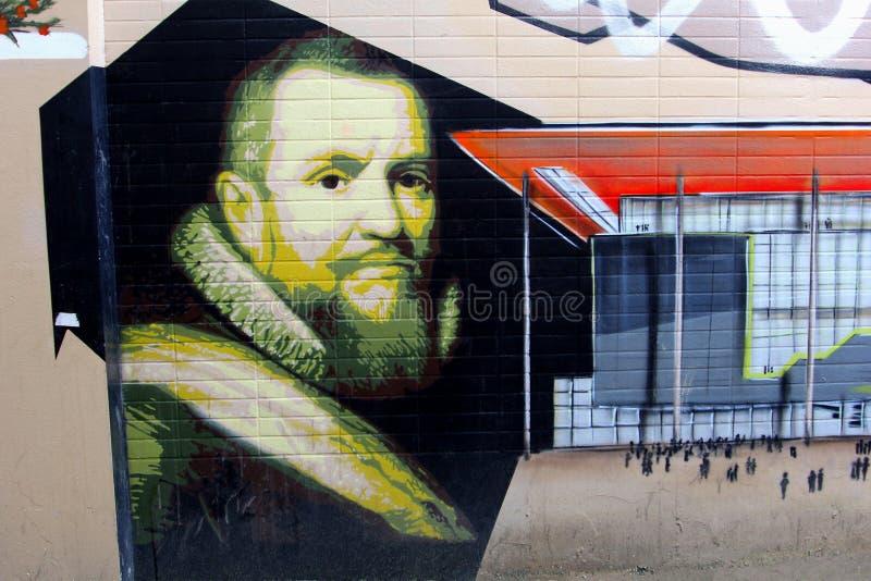 Старые и современные граффити искусства улицы, Leeuwarden, Фрисландия, Голландия стоковые изображения rf