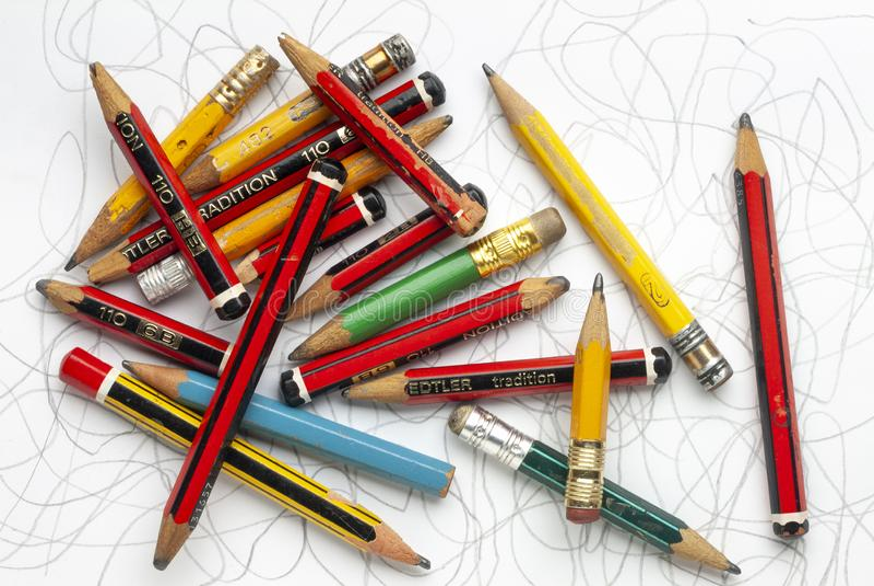 Старые карандаши и Scribbles стоковые изображения