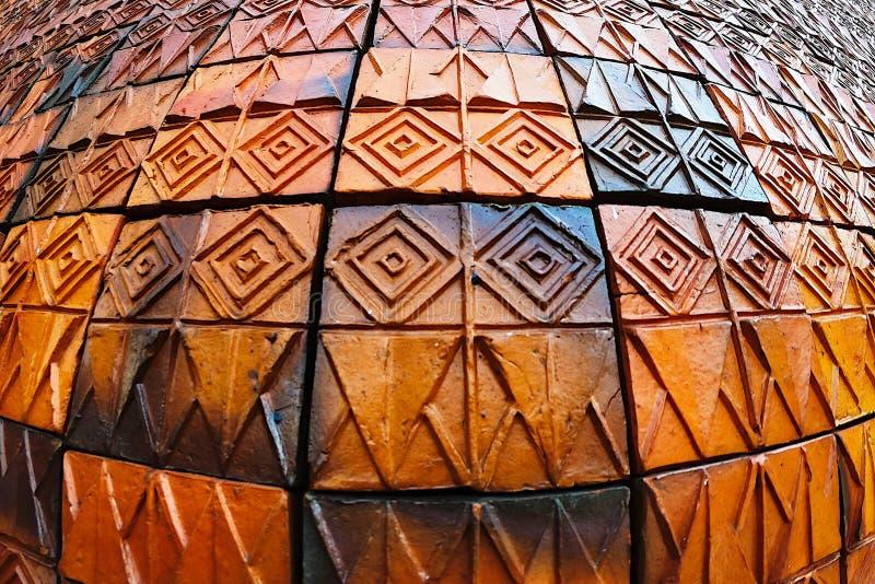 Старые картины керамических плиток стены handcraft внутреннее backgound от публики парков Таиланда стоковая фотография rf