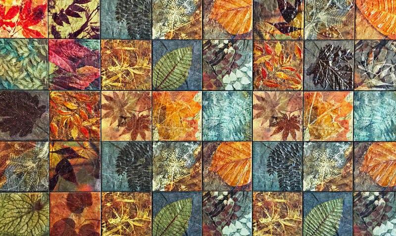 Старые картины керамических плиток стены handcraft от парков Таиланда общественных бесплатная иллюстрация