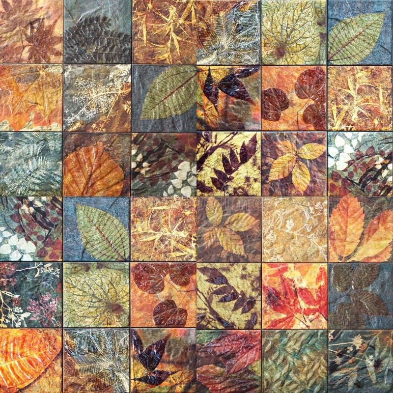 Старые картины керамических плиток стены handcraft от публики Таиланда бесплатная иллюстрация