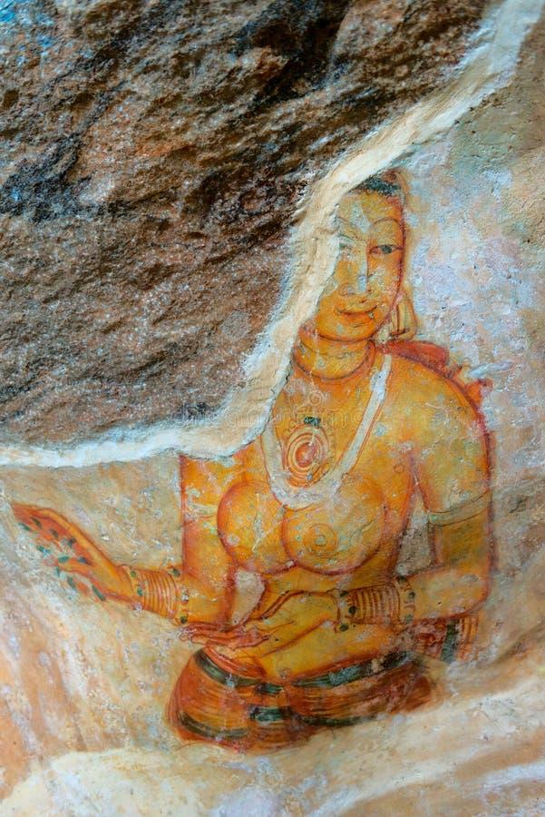 Старые картины стены пасмурных девушек, Шри-Ланки стоковые изображения