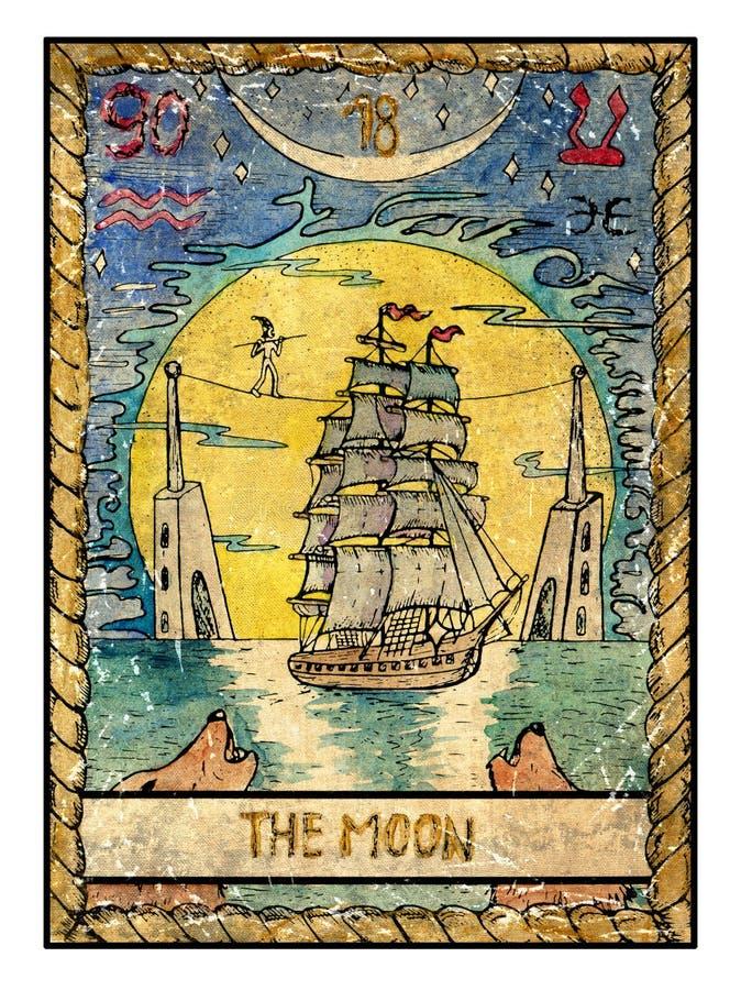 Старые карточки tarot Полная палуба Луна… в пасмурной ноче бесплатная иллюстрация