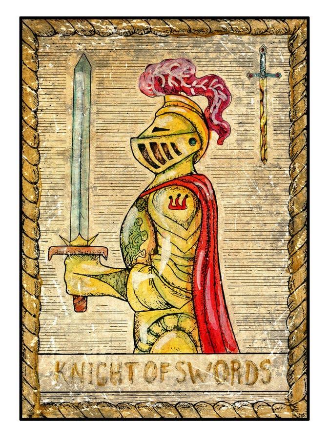 Старые карточки tarot Полная палуба Рыцарь шпаг иллюстрация вектора