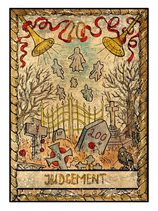 Старые карточки tarot Полная палуба суждение иллюстрация штока