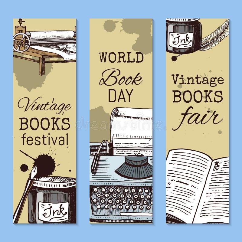 Старые книги с ручкой пера quill чернил и набором чернильницы иллюстрации вектора знамен Винтажное или античное сочинительство бесплатная иллюстрация