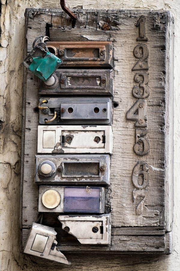 Старые кнопки колокола стоковое изображение