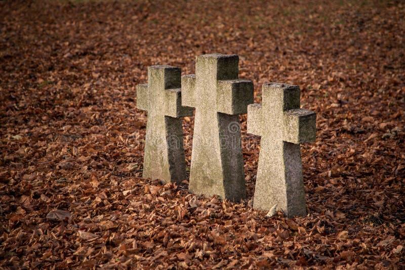 Старые кресты усыпальницы стоковое изображение rf