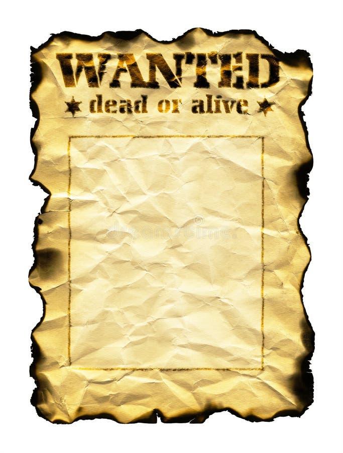 Старые лист бумаги с словами хотели умерших или живое стоковое изображение rf