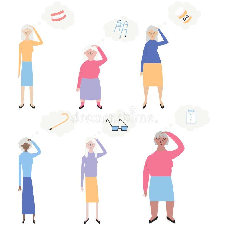 Старые люди с иллюстрацией вектора потери памяти Установите старух пробуя вспомнить различные вещи Плоский минимальный стиль диза иллюстрация штока