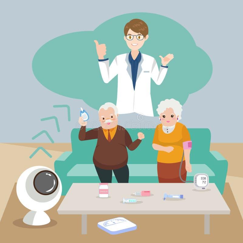 Старые люди с кровяным давлением иллюстрация штока