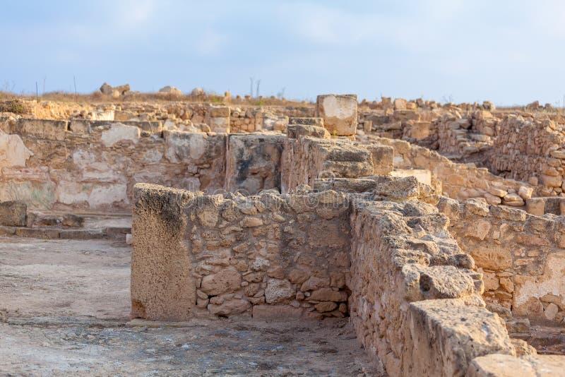 Старые мозаики в археологических раскопках, Paphos стоковые изображения rf