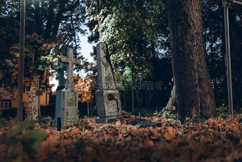 Старые надгробные плиты губят в лесе autmn, кладбище в вечере, ночи, свете луны, выборочном фокусе, backgrond дизайна концепции х стоковая фотография