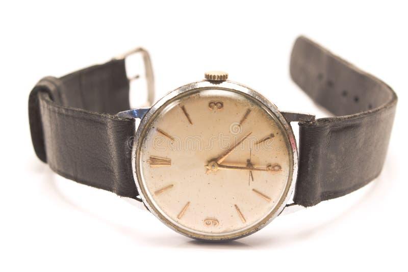 Старые наручные часы на белизне стоковые фотографии rf