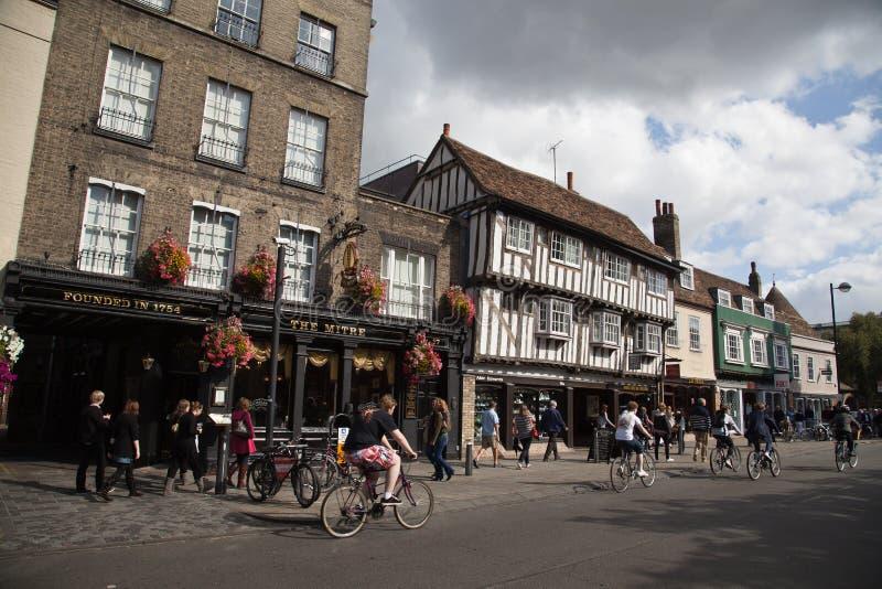 Старые дома в городе Кембриджа стоковое изображение