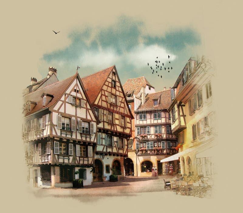 Старые дома Европы colmar Франция бесплатная иллюстрация