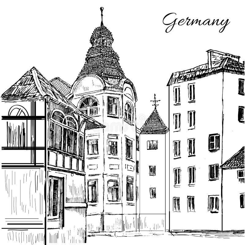 Старые дома плитки, Германия, Европа, иллюстрация вектора нарисованная рукой, чернила выгравированный городской эскиз изолированн иллюстрация вектора