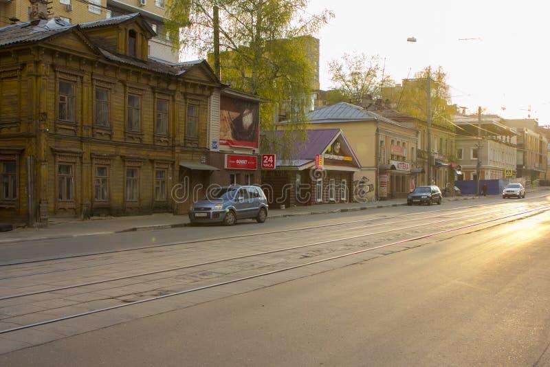 Старые дома Nizhny Novgorod стоковое изображение rf