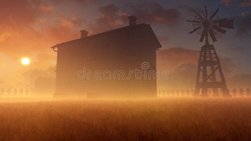 Старые дом и ветрянка в туманном заходе солнца иллюстрация вектора