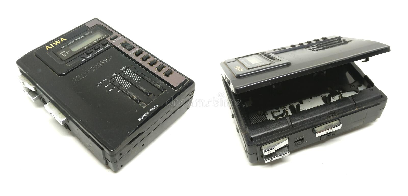 Старые пакостные кассета AIWA портативные тональнозвуковые компактные/игрок радио стоковое изображение rf
