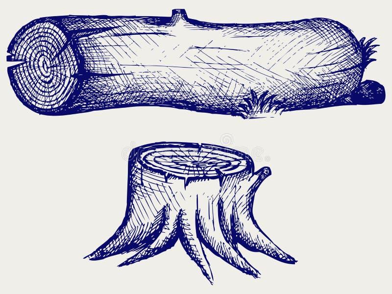 Старые пень и журнал дерева иллюстрация вектора