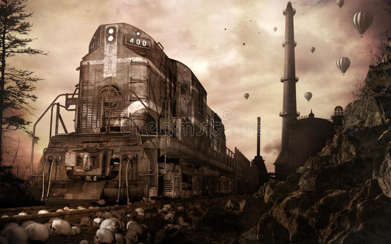Старые поезд и фабрика иллюстрация вектора