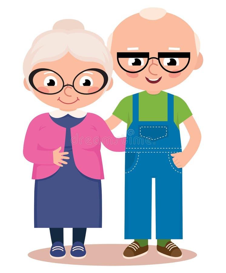 Старые пожененные пары изолированные на белой предпосылке иллюстрация штока