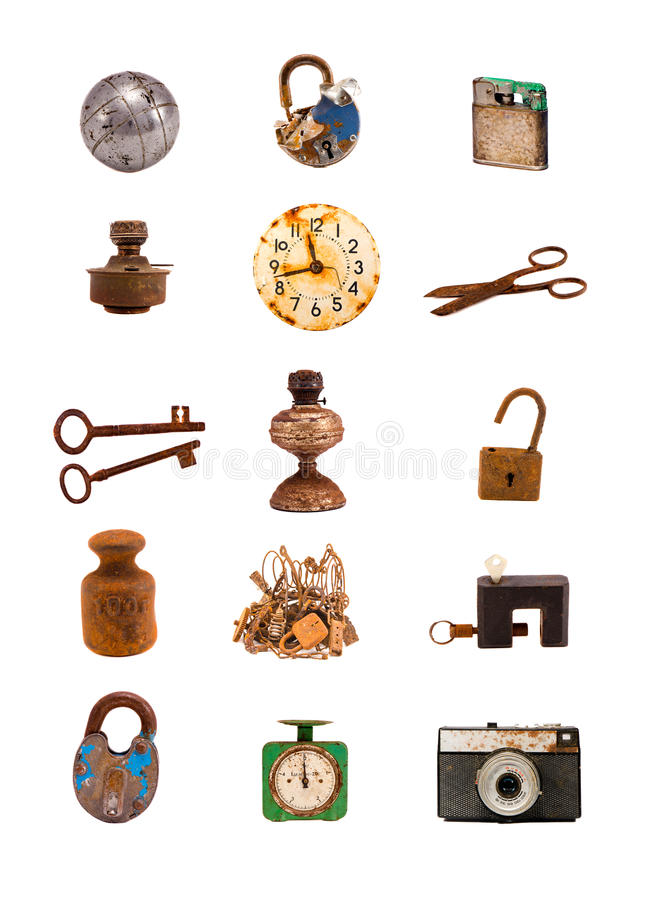 Старые предметы и инструменты сортировали группу на белизне стоковые фотографии rf