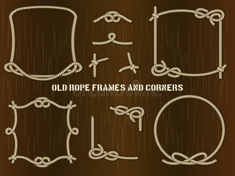Старые рамки и углы веревочки на предпосылке Брайна иллюстрация штока